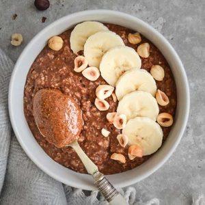 Nutella porridge (gluten free, dairy free, vegan)