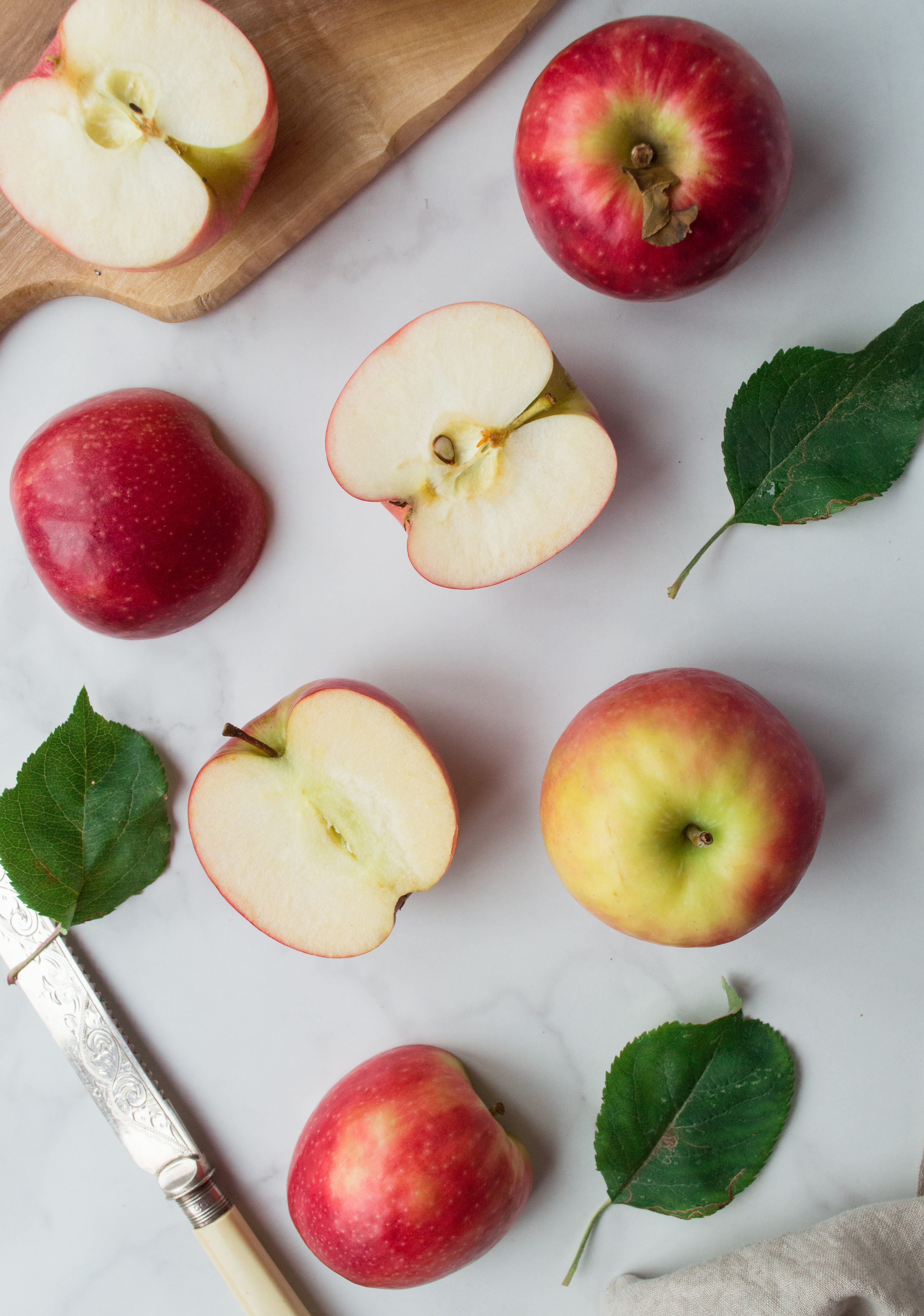 Pink Lady Apples on white background