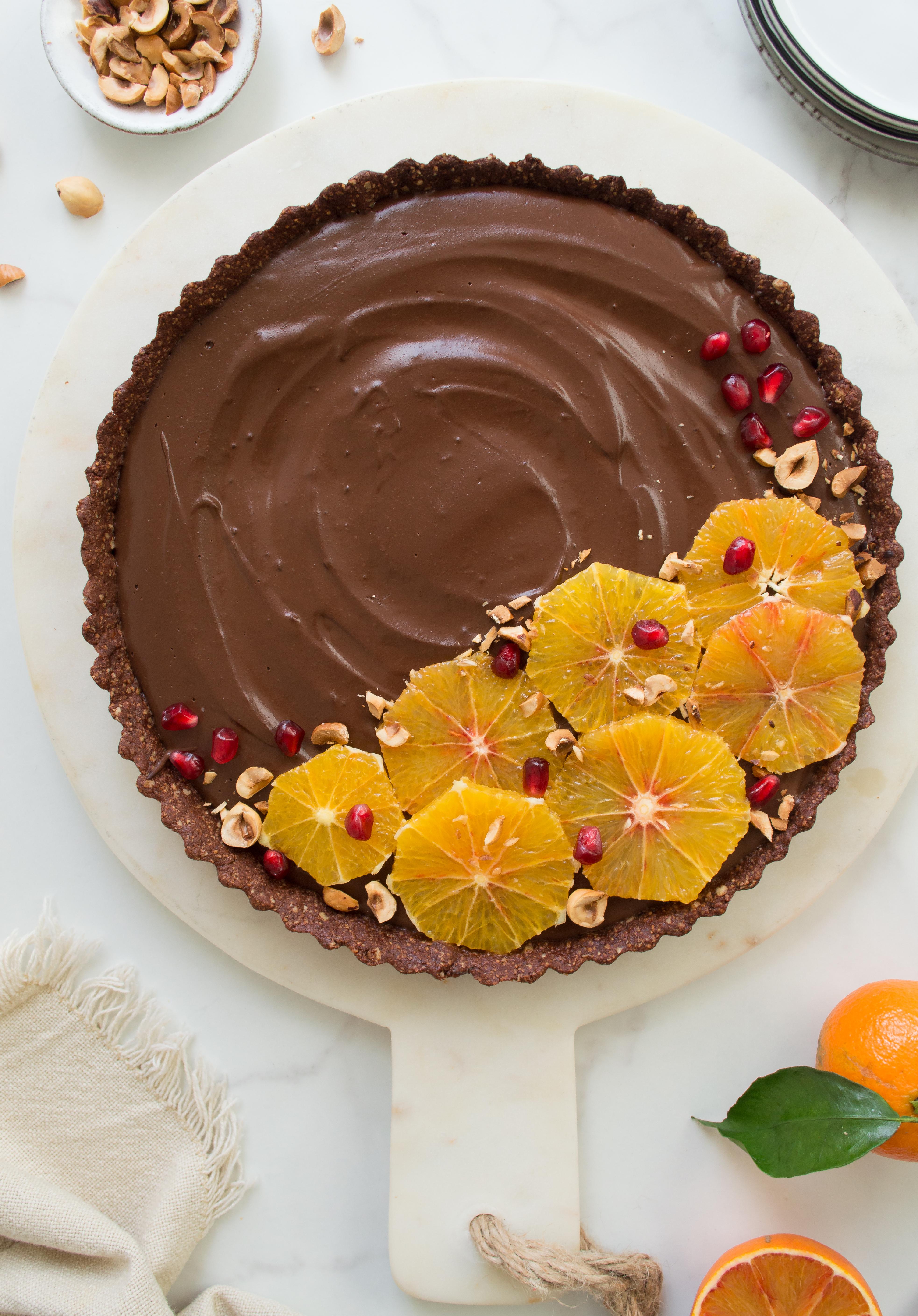 Vegan blood orange & chocolate tart - perfect dessert for Valentine's Day