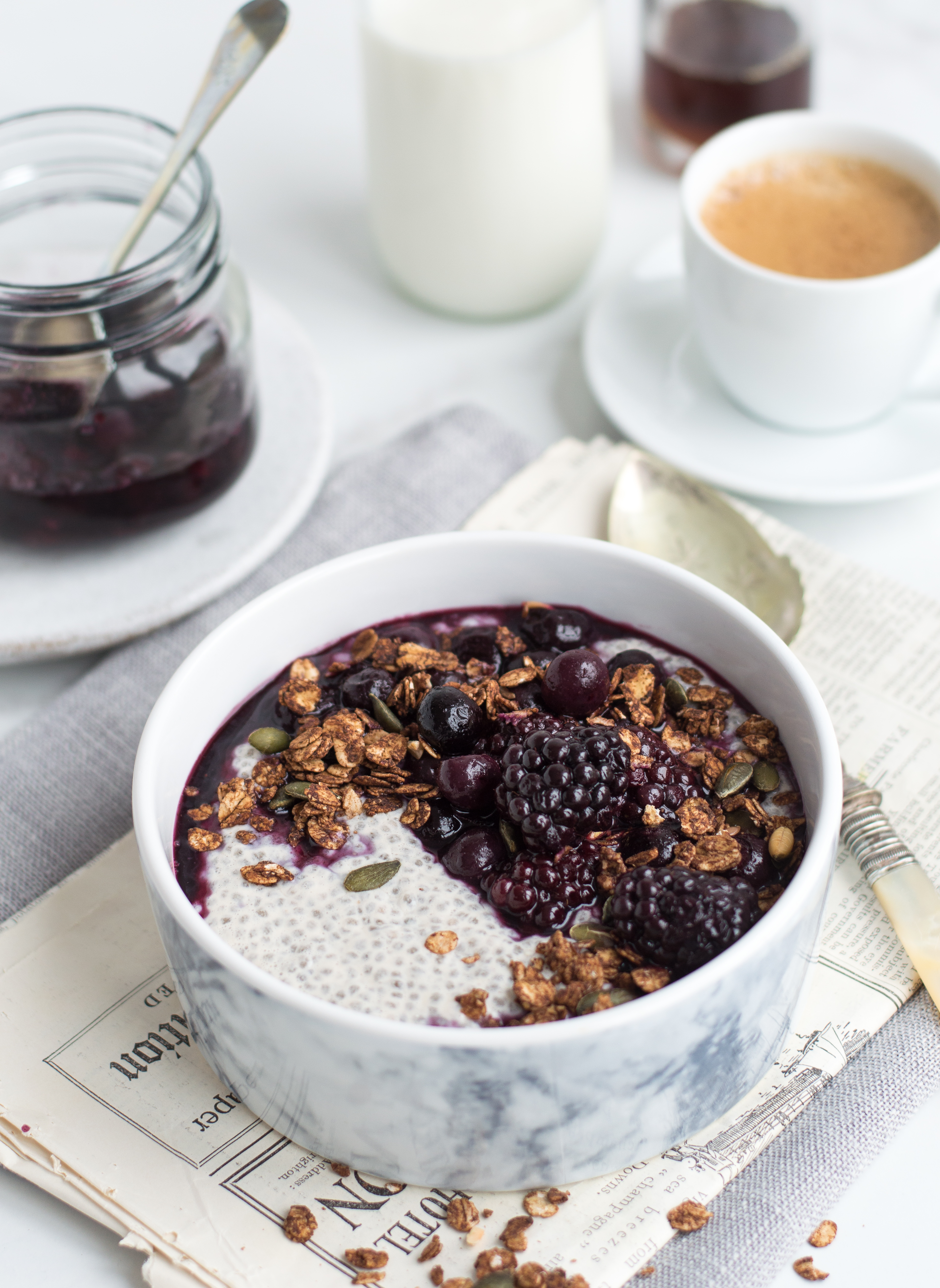 Chia pudding with berry compote & granola