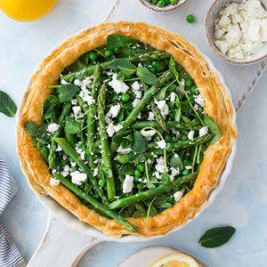 Asparagus tart with pea & mint pesto & feta