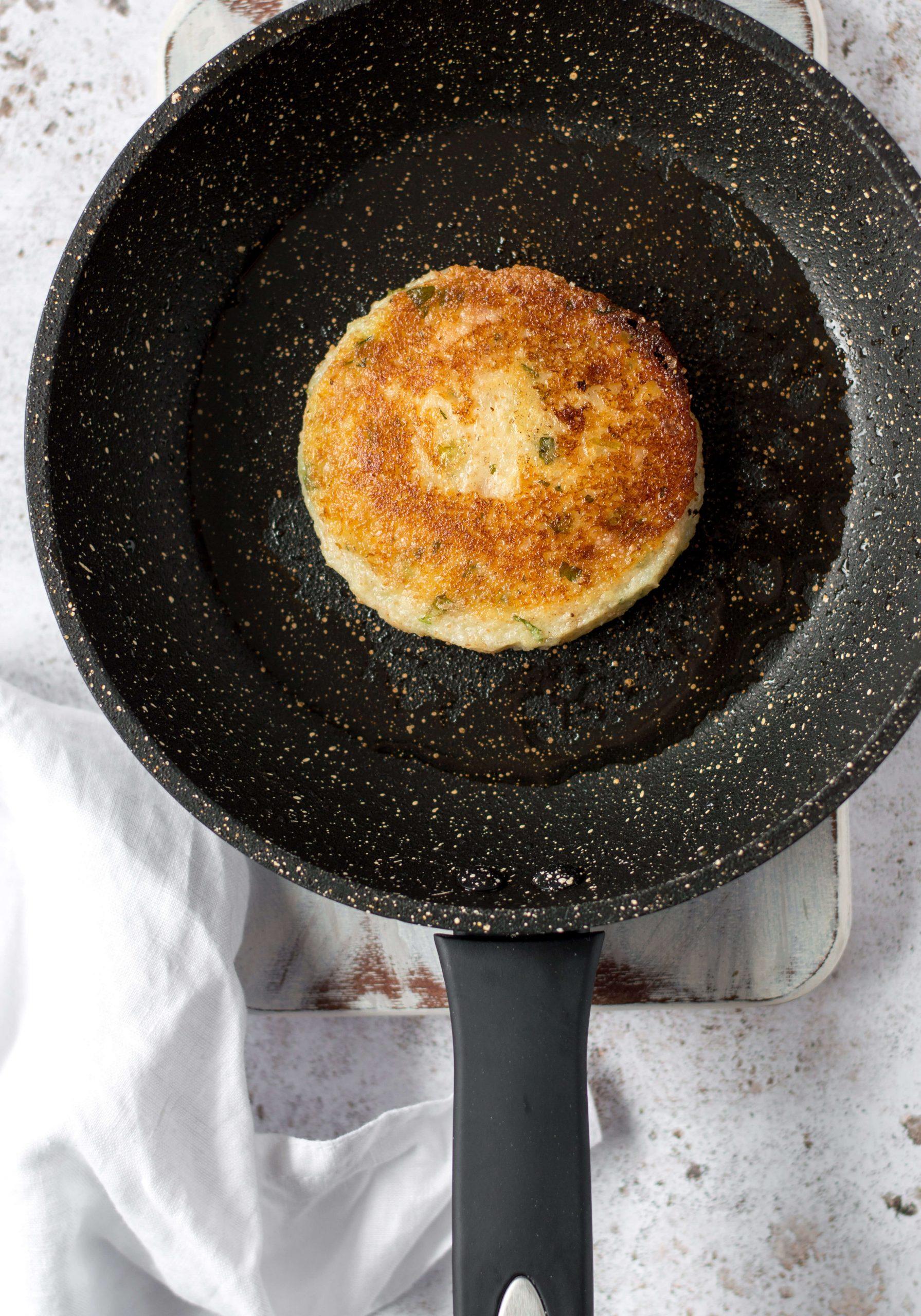 Vegan Potato Cake in a frying pan