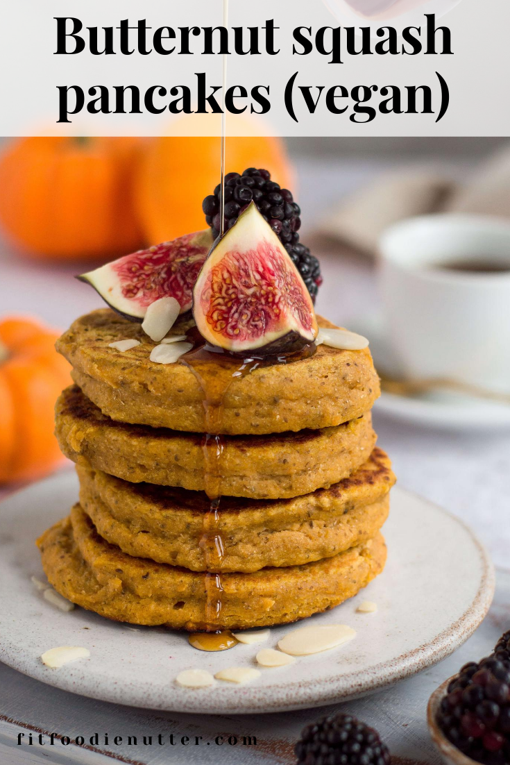 Butternut squash pancakes stack with pouring maple syrup  - Fit Foodie Nutter