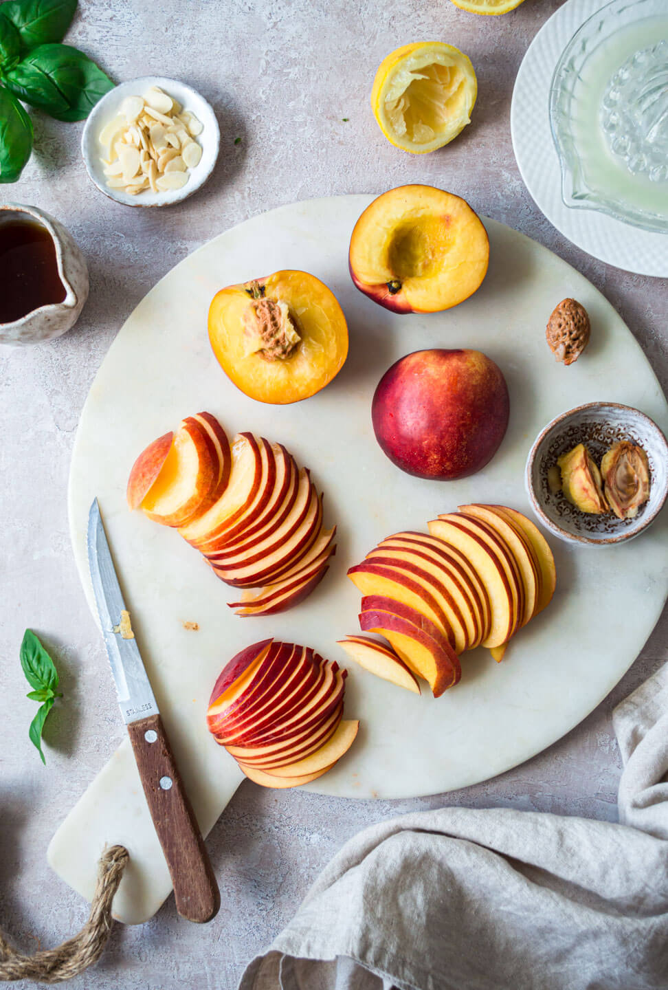 Top down view of sliced nectarines for nectarine tart