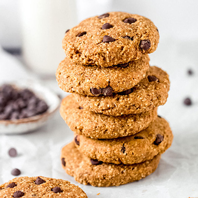 A stack of pumpkin & chocolate chip cookies with a glass of milk – Fit Foodie Nutter