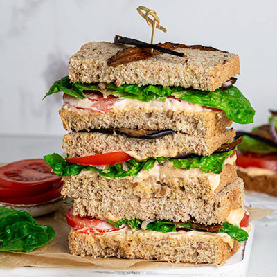 Vegan BLT sandwich stack