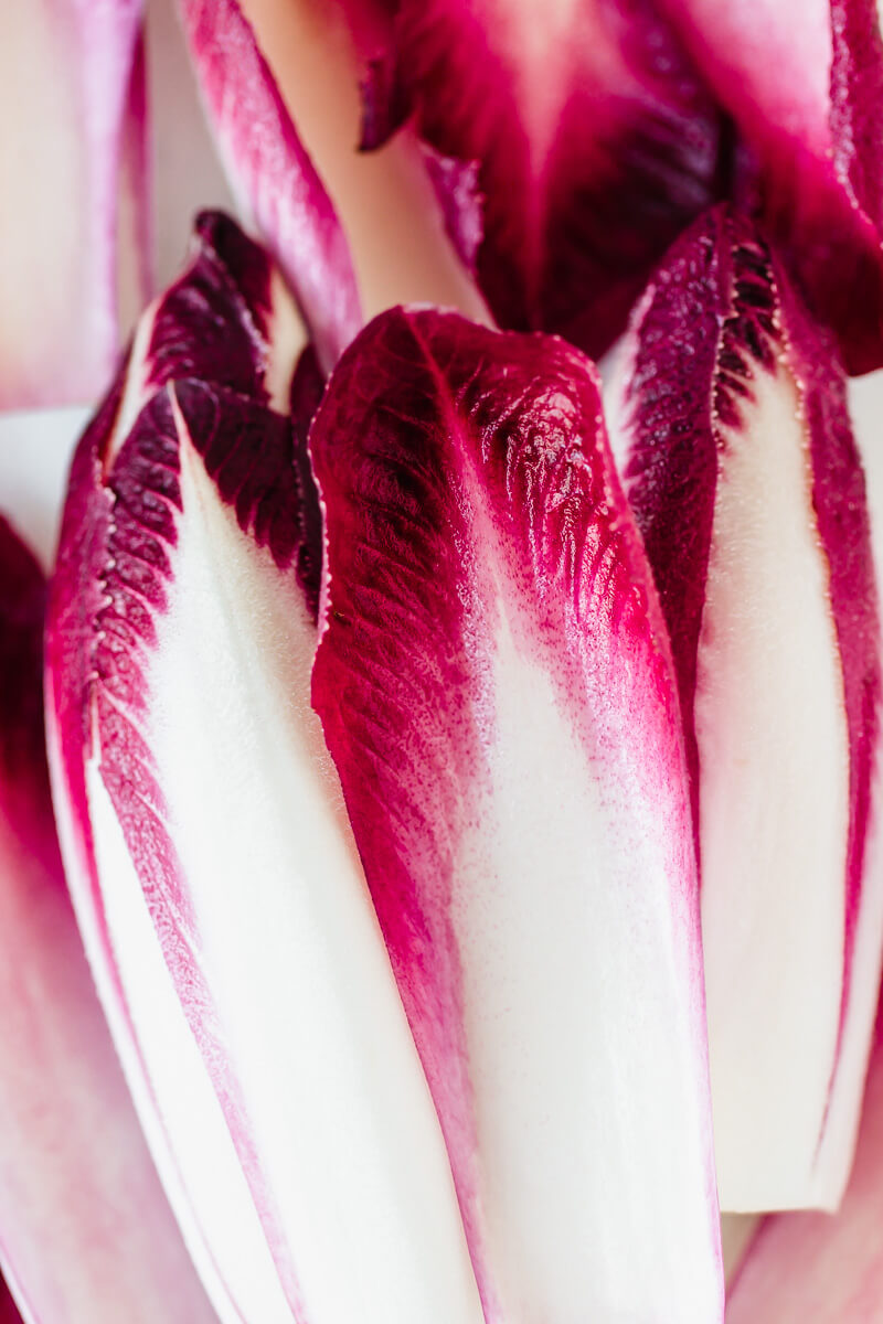 Close up shot of red chicory leaves