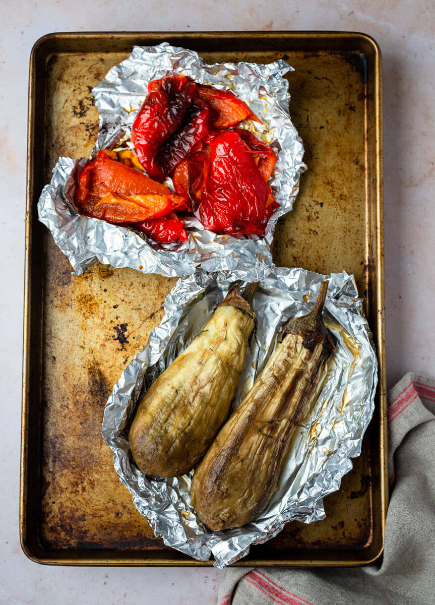Roasted red pepper & aubergines in baking foil