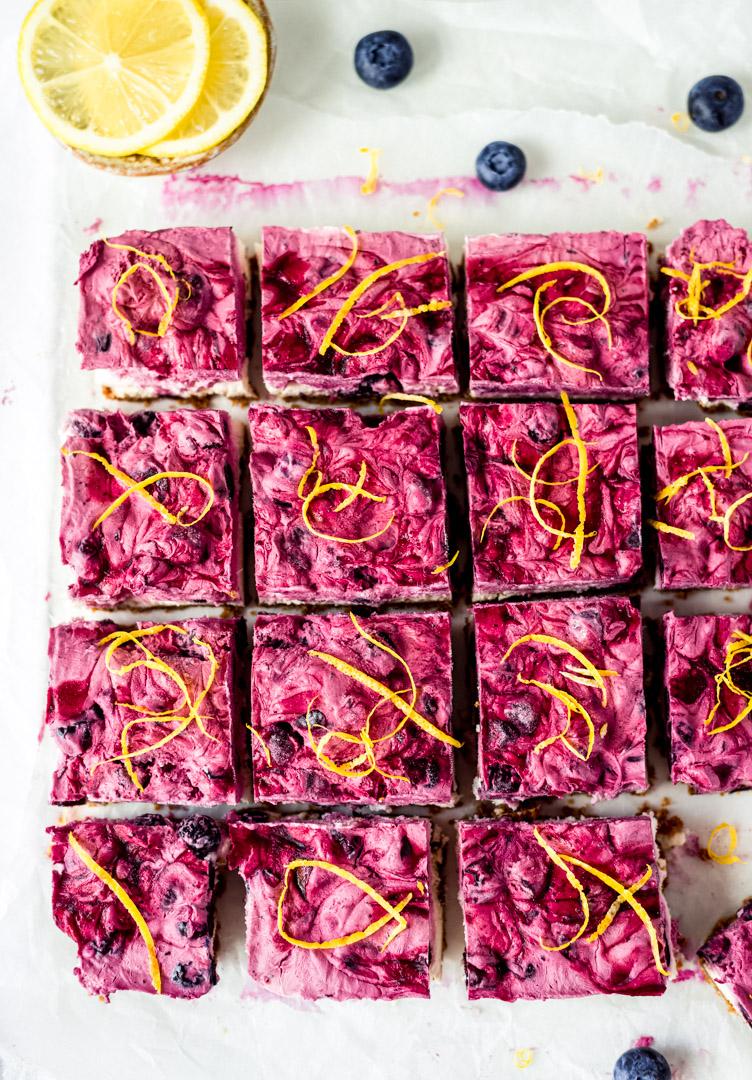 Overhead view of vegan blueberry lemon cheesecake bars
